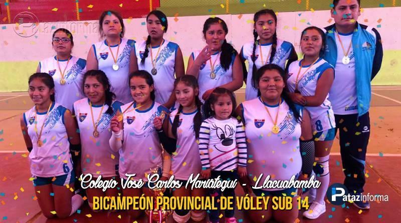 DEPORTES | Colegio Llacuabamba bicampeón provincial vóley sub 14