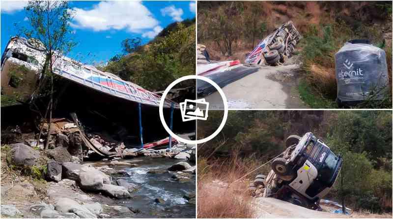 HUAYO   Pesado camión terminó en medio del río tras sufrir accidente