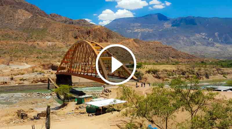 PATAZ   Puente Antonio Raimondi sobre río Marañón luce losa de concreto