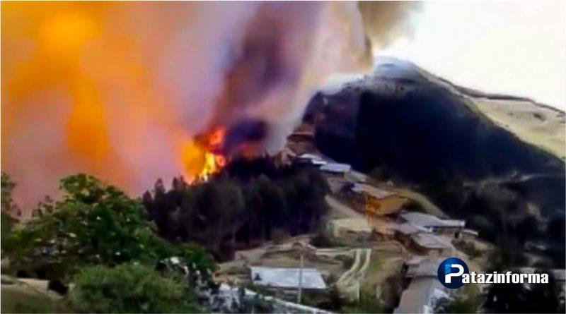 Incendio forestal amenaza viviendas de la comunidad La Tranca en Parcoy