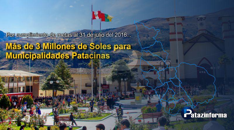 Aprueban transferencia por más de S/ 3 millones a municipalidades patacinas