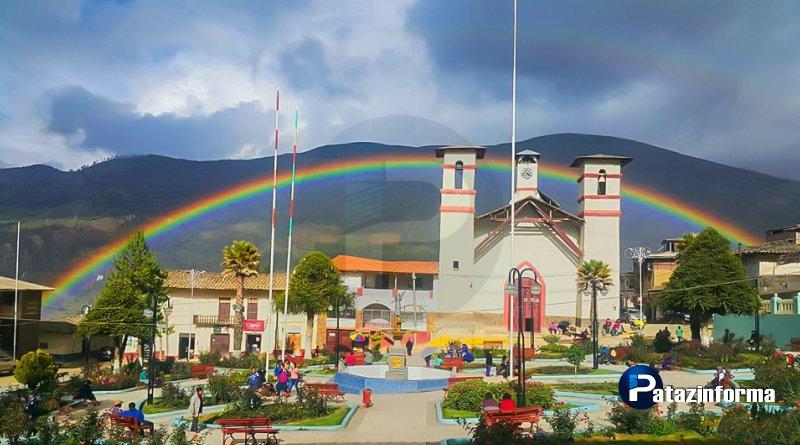 Luego de lluvia, un hermoso arco iris adornó el paisaje de Tayabamba