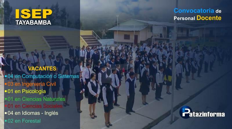 Inició convocatoria de 16 Profesionales para laborar en Instituto de Tayabamba