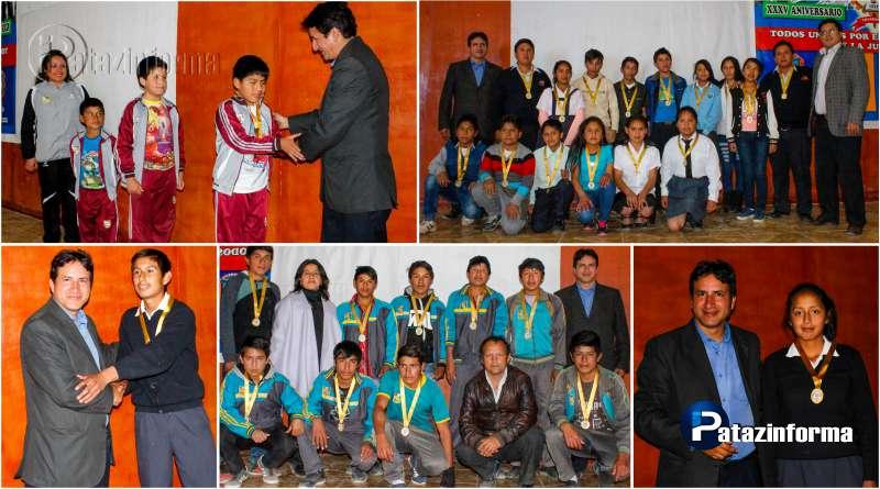 TAYABAMBA   Alumnos ganadores de Juegos Florales fueron premiados