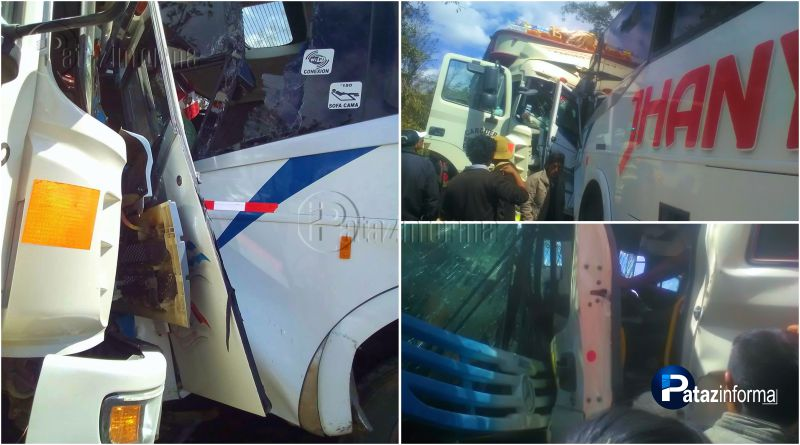 TAYABAMBA   Aparatoso choque entre bus y camión deja varios heridos