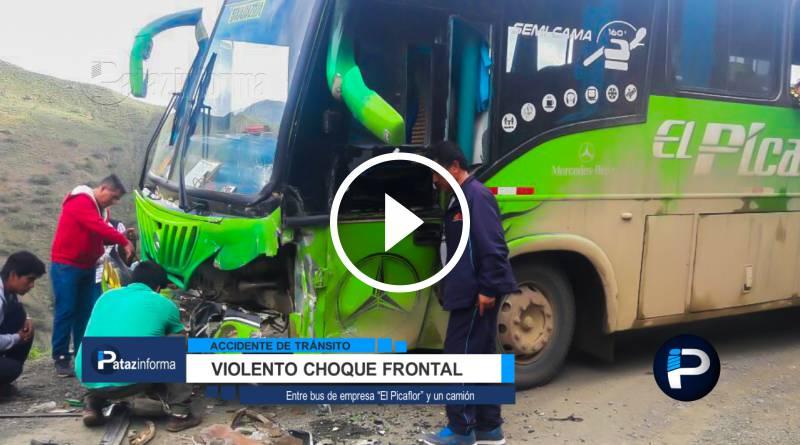 TAYABAMBA | Violento choque frontal entre bus El Picaflor y Camión