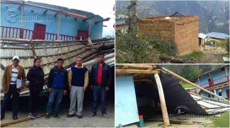 HUANCASPATA | Vientos huracanados y fuertes lluvias dejan sin techo a I. E.