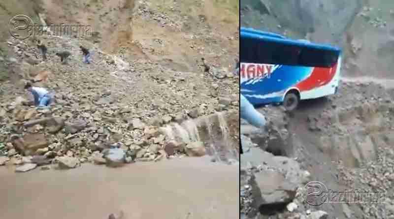 LA LIBERTAD | Bus intenta cruzar huaico y queda al borde de abismo