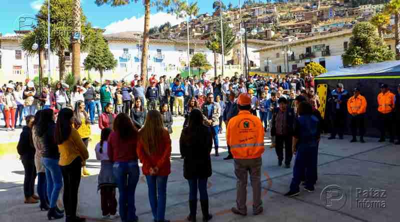 Masiva concurrencia en simulacro de sismo en Tayabamba