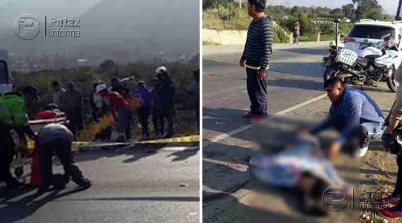 Terrible choque entre motocicleta y volquete deja dos fallecidos