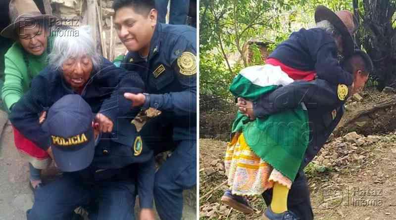 Policía cargó a abuelita para llevarla hasta un hospital