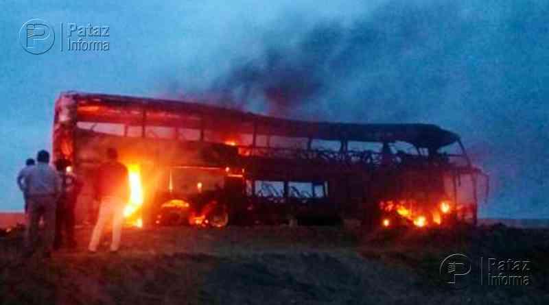 Bus se incendia en viaje de promoción de alumnos en Huaraz