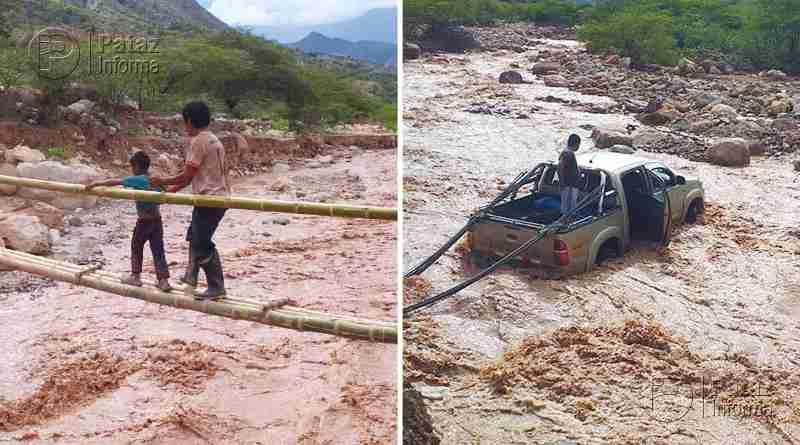 Pobladores y conductores arriesgan sus vidas cruzando río en Pataz