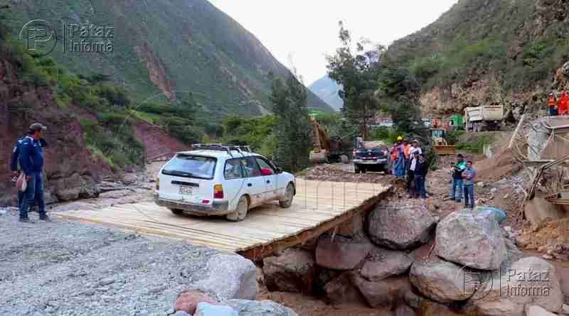 Con puente provisional rehabilitan pase Huaylillas – Tayabamba