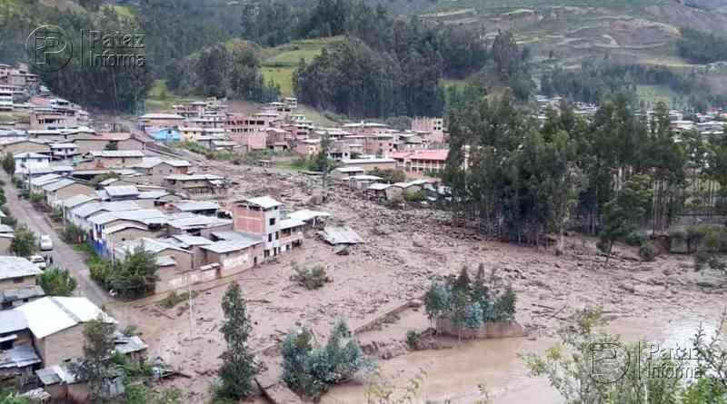 Masa de lodo y piedra arrasó con viviendas y puente en Huacrachuco