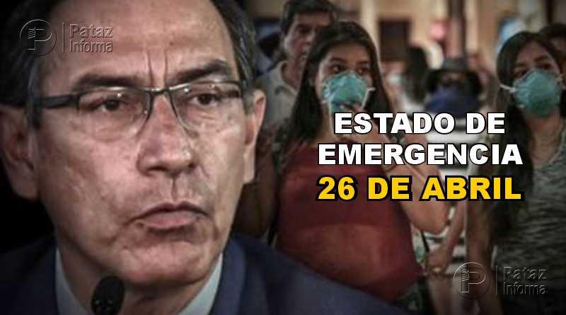Amplían estado de emergencia nacional hasta el 26 de abril